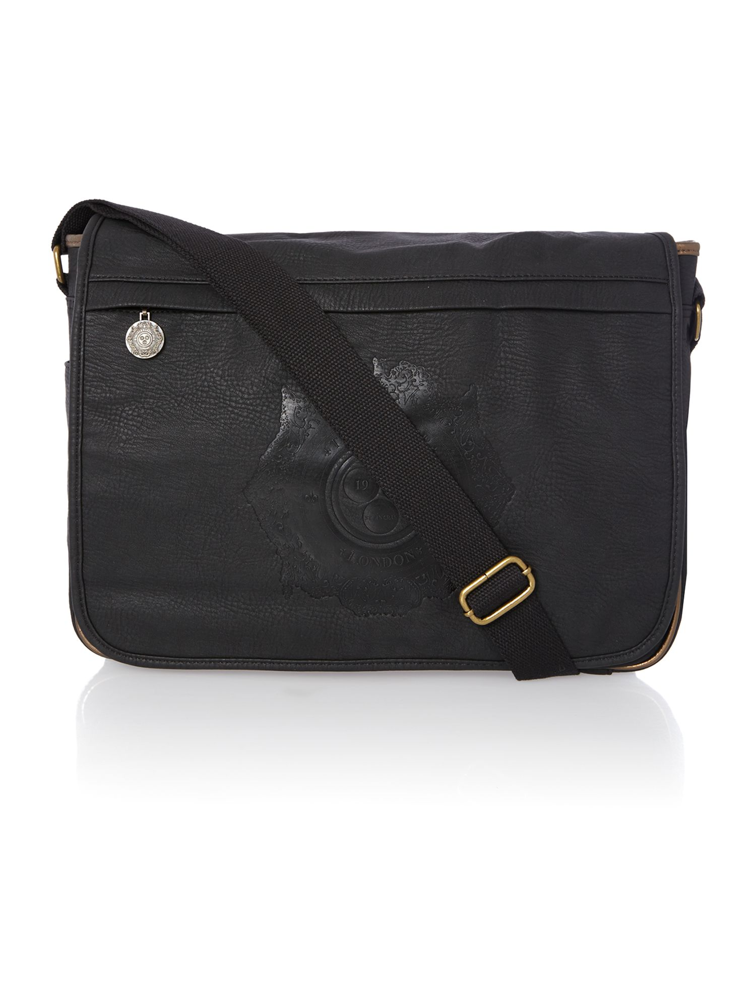 Logo embossed messenger bag