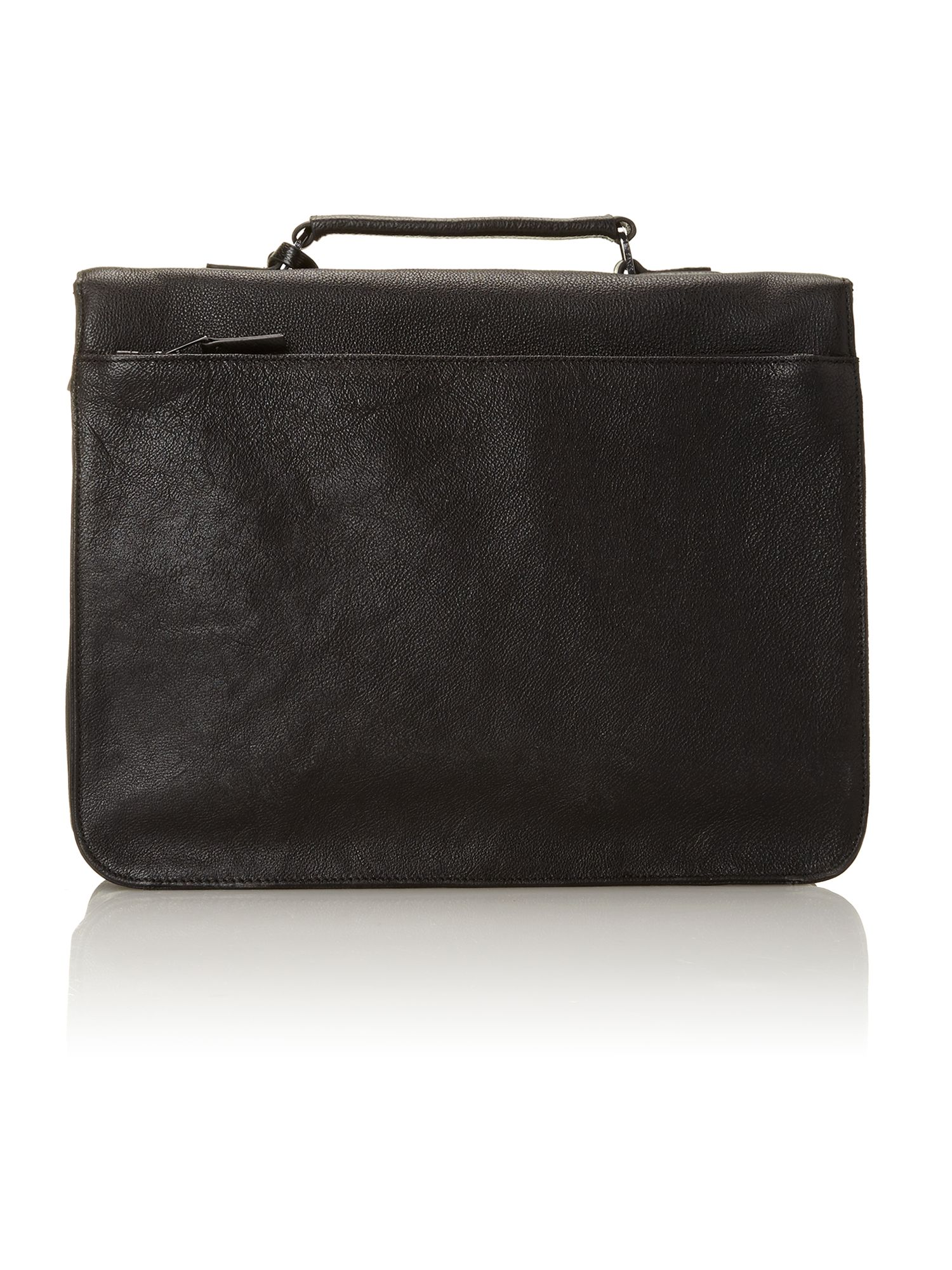 leather push lock briefcase