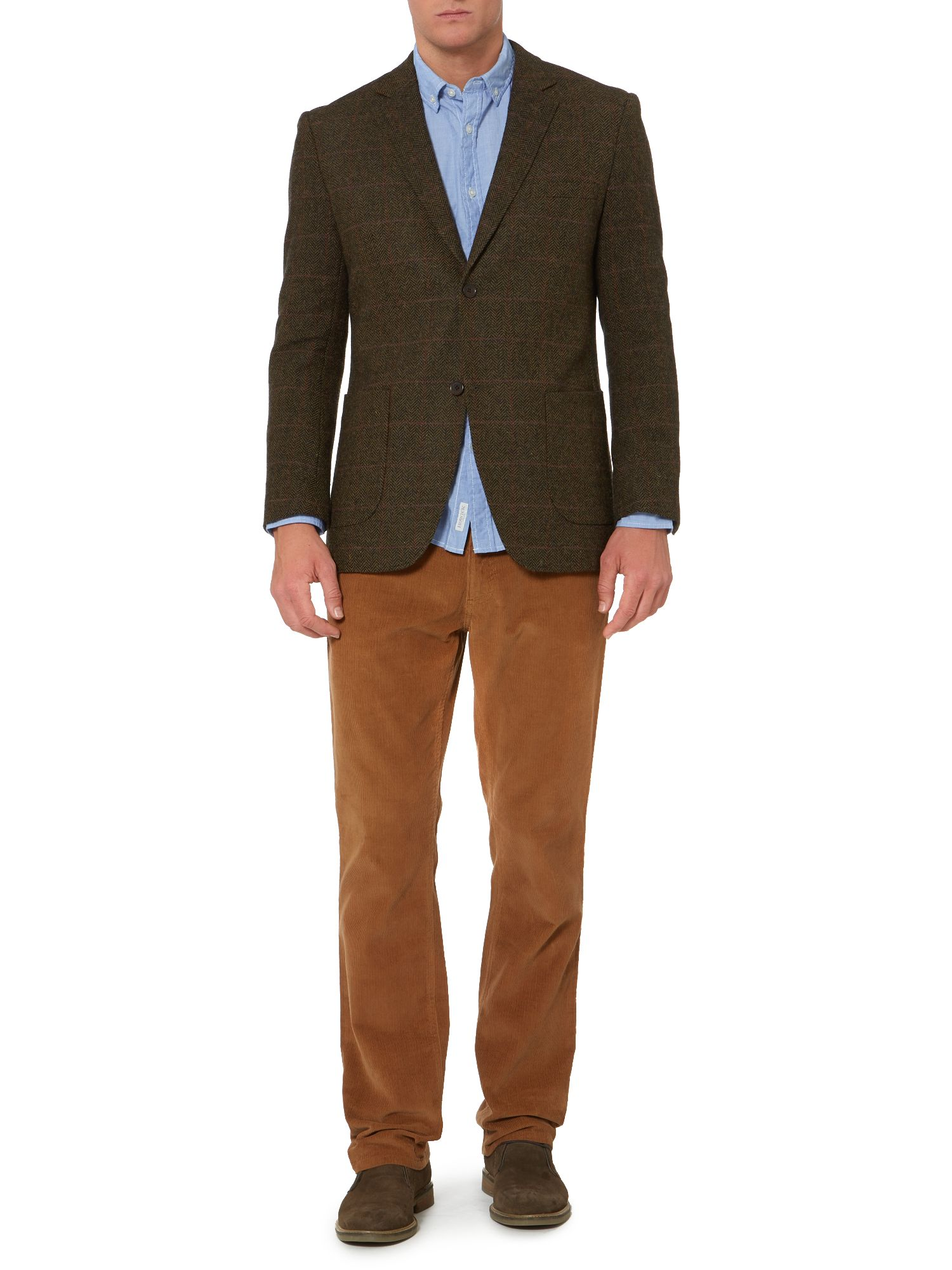 claremont herringbone over check blazer