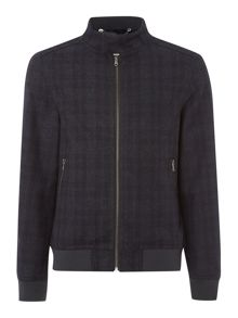 Law wool check bomber jacket