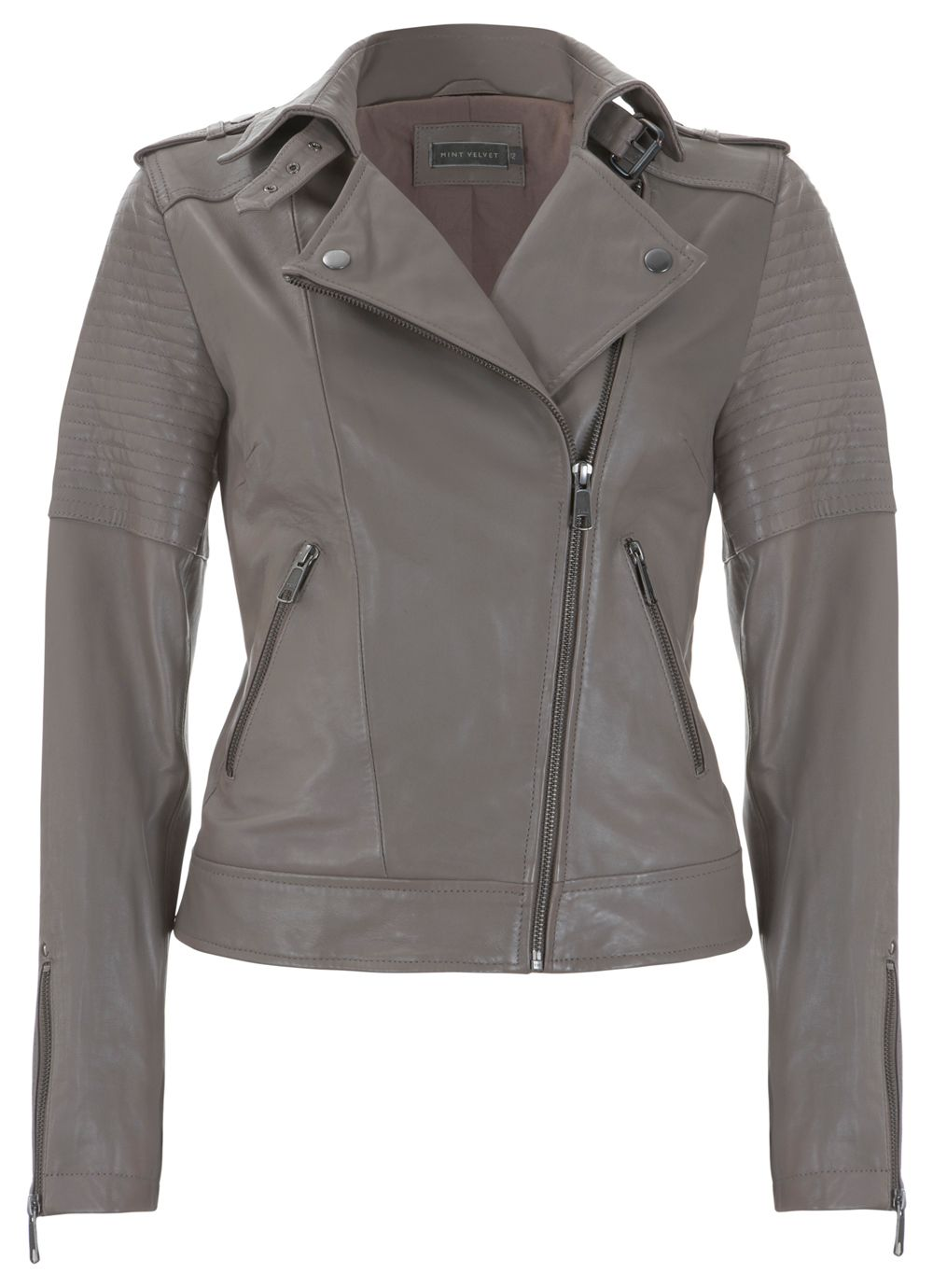 Mink zip leather biker jacket