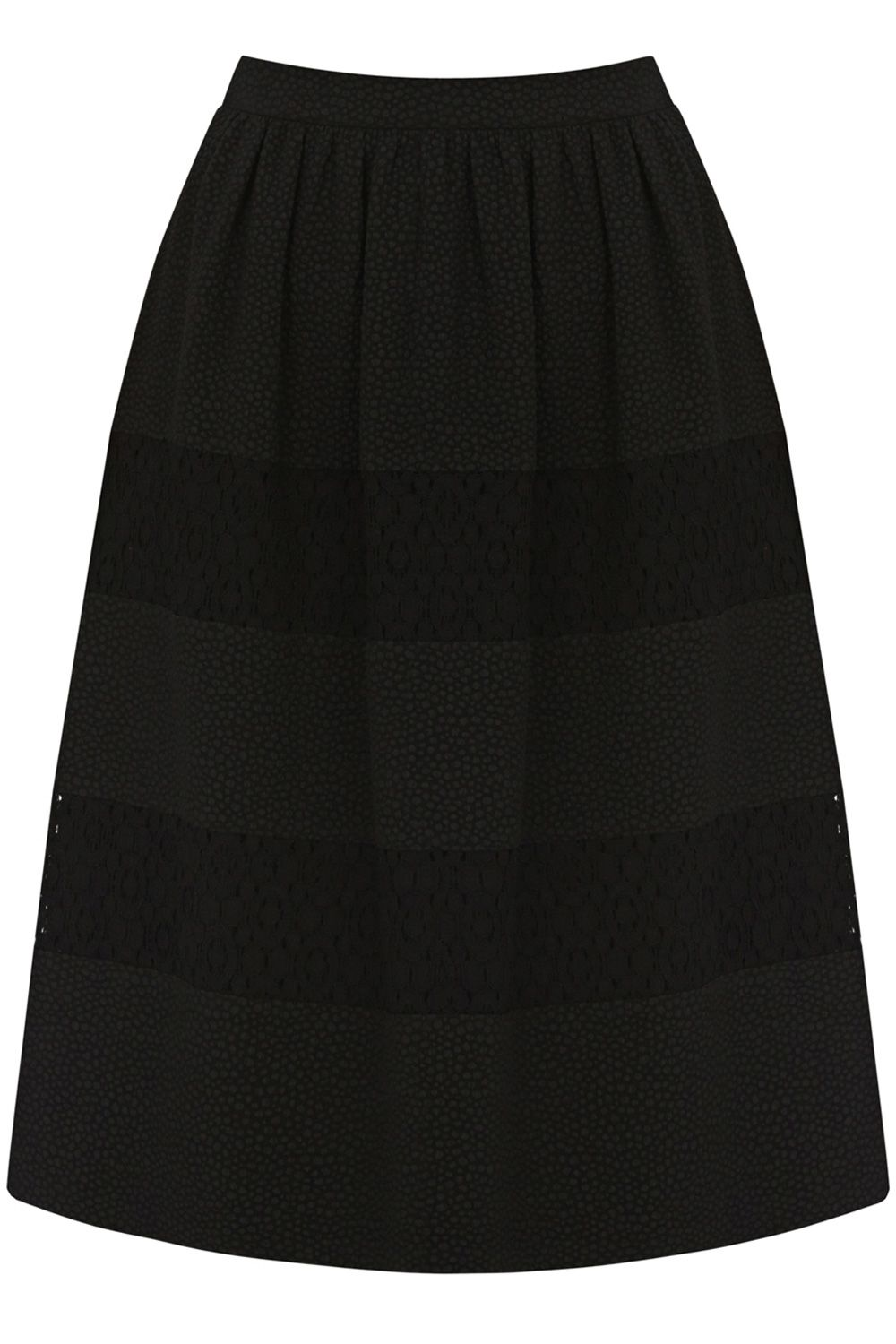 Bubble crepe lace insert midi skirt