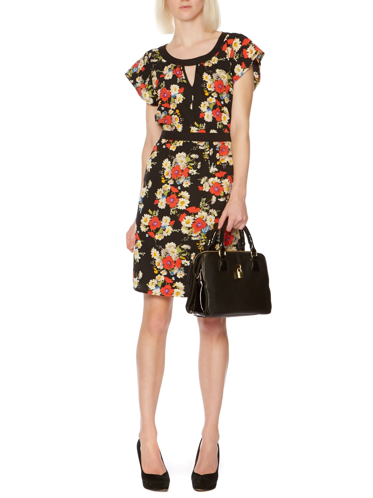 Keyhole floral neck dress