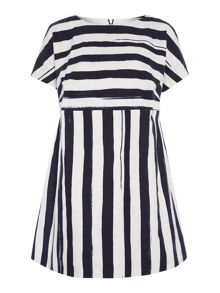 Striped capped sleeve dress
