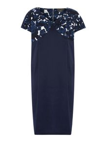 Domani cap sleeved shift dress with floral print