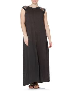 Organza cap sleeved maxi with mesh detail