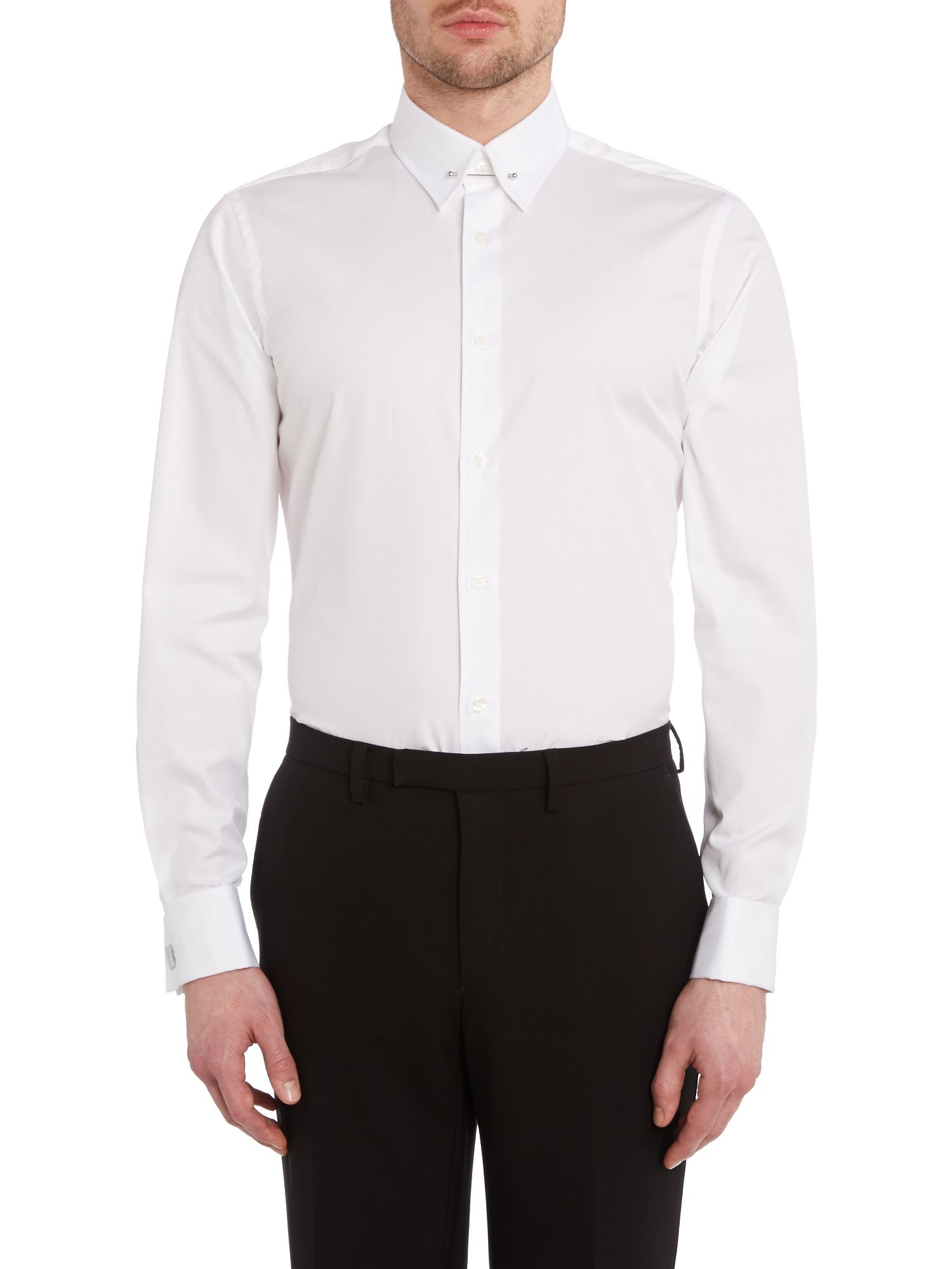 Slim fitlong sleeve pin-collar shirt