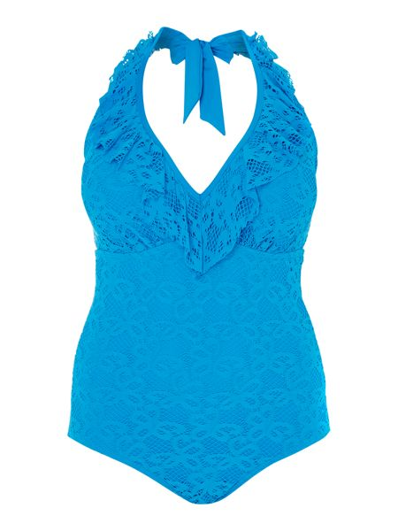 Kenneth Cole Ruffle underwired halter swimsuit