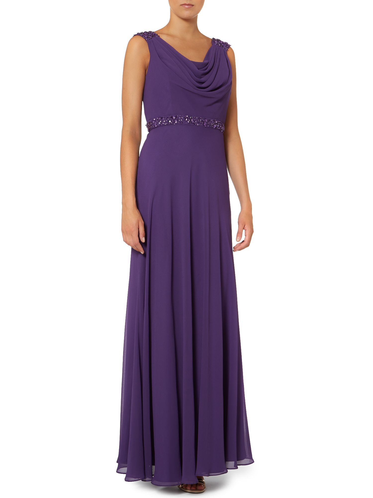 Chiffon maxi dress with cowl neck