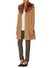 10% Cashmere skirted shawl collar coat