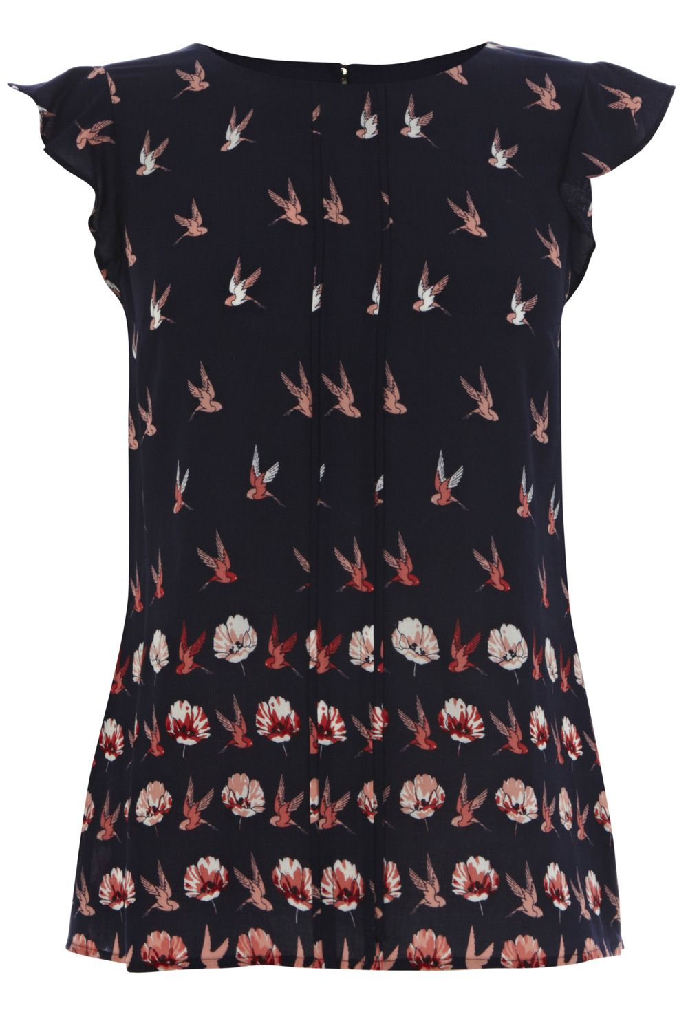 Bird rose viscose top