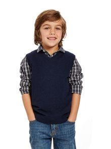 Boys lambswool v neck pullover