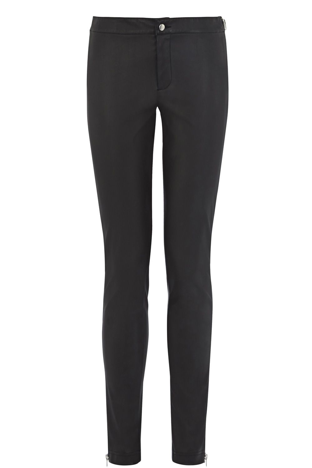 Faux leather zip detail leggings