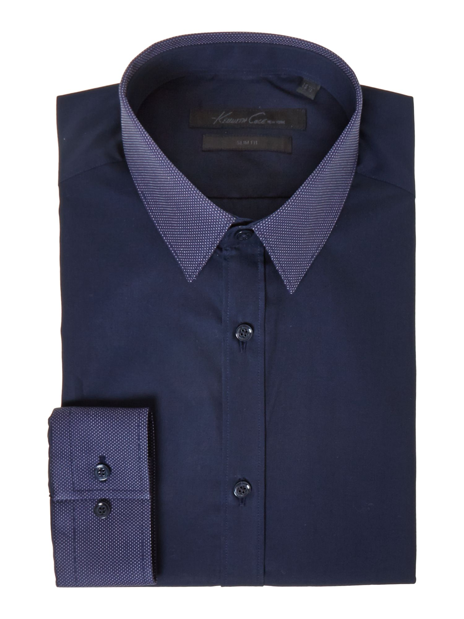Adler pindot detail collar and cuff shirt