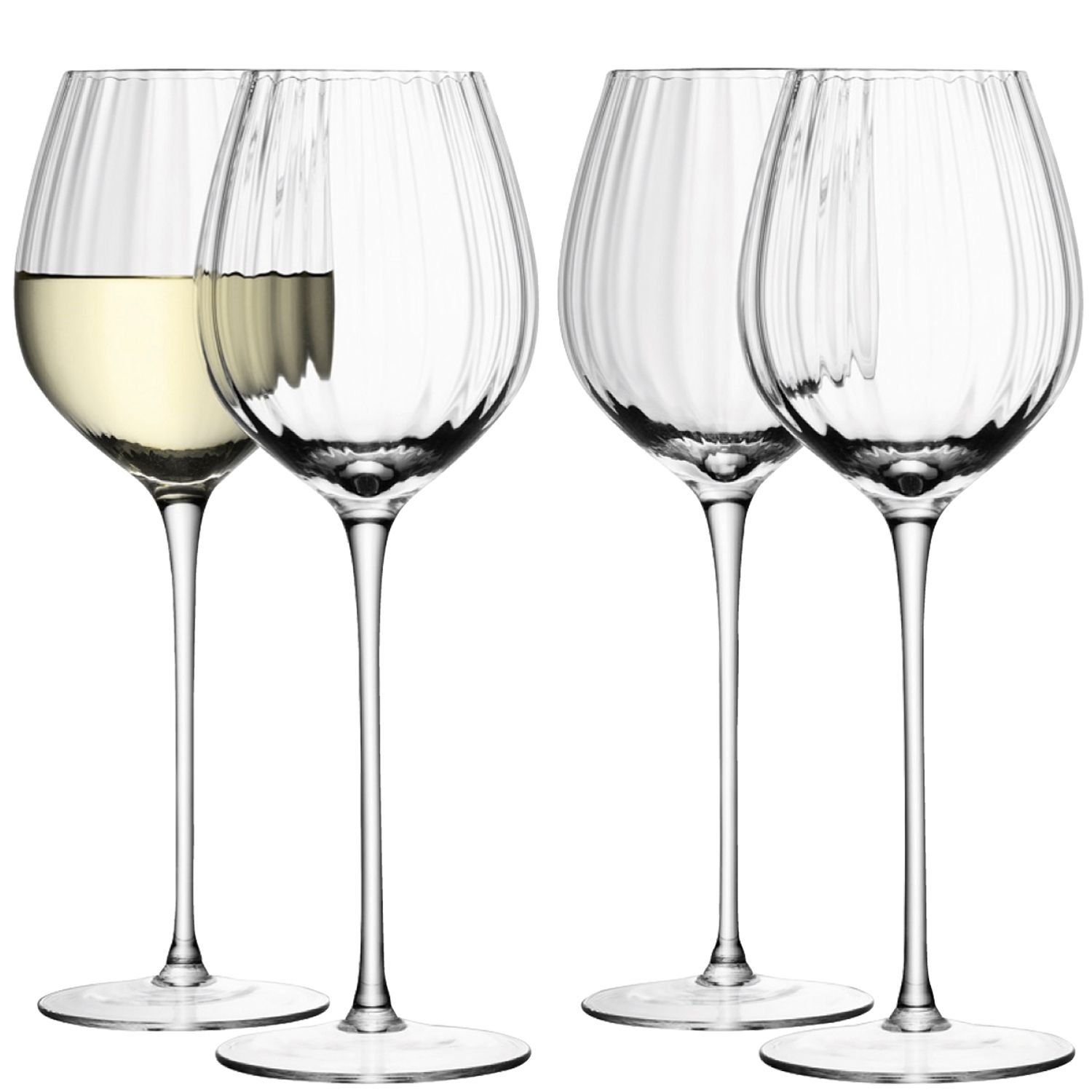 Aurelia white wine glasses clear optic set of 4