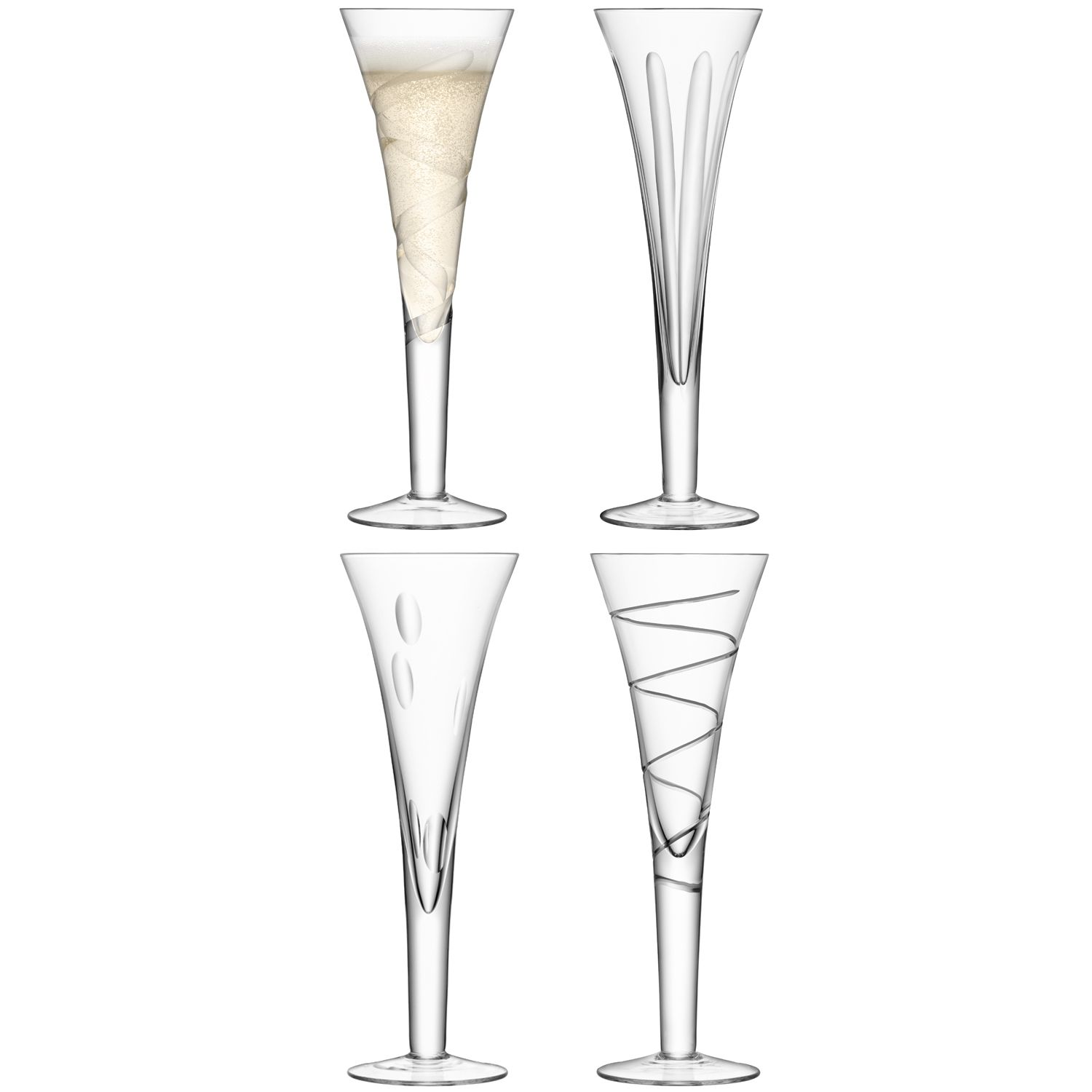 Charleston champagne flute assorted cuts set of 4