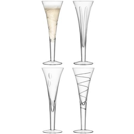 LSA Charleston champagne flute assorted cuts set of 4