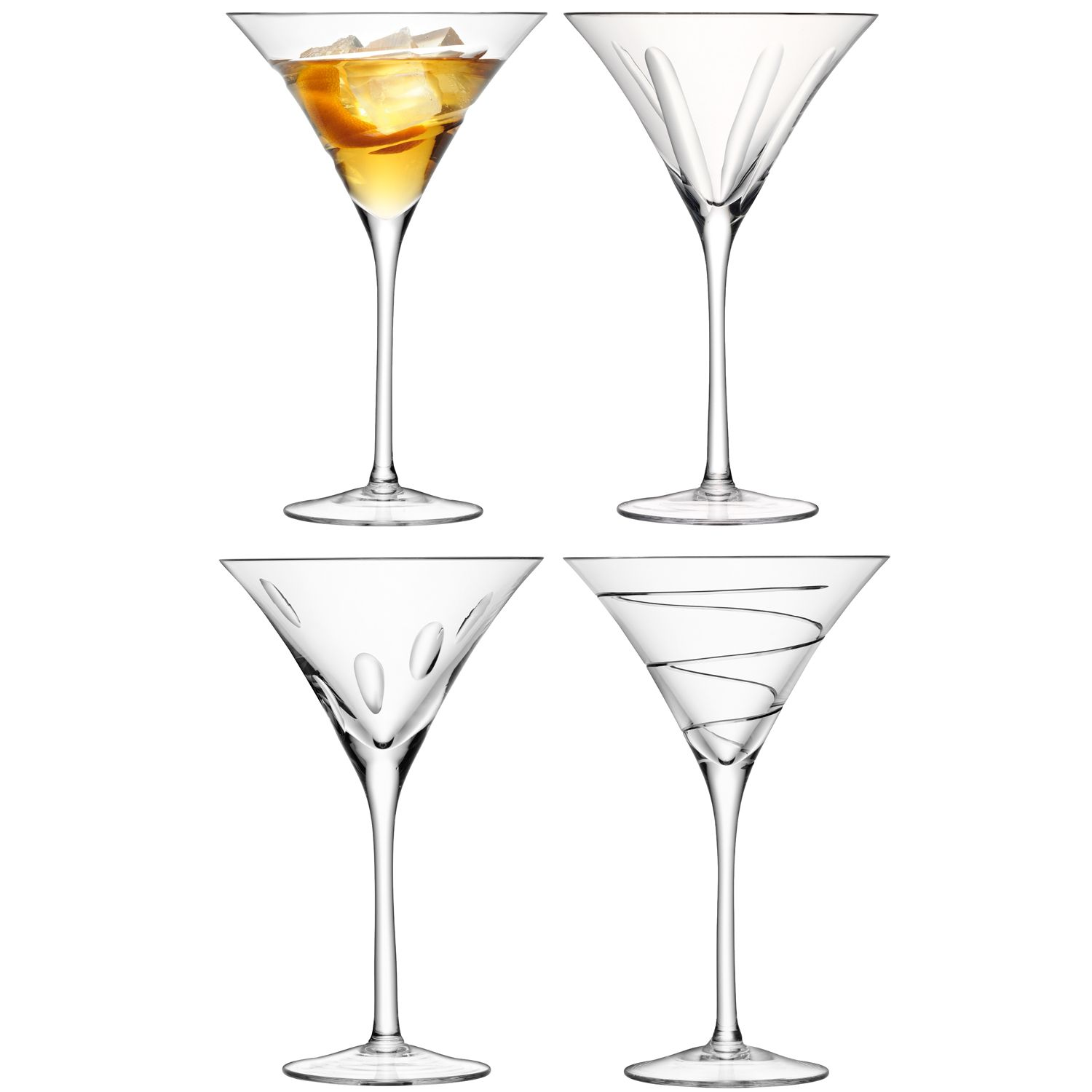 Charleston cocktail glass assorted cut, set of 4