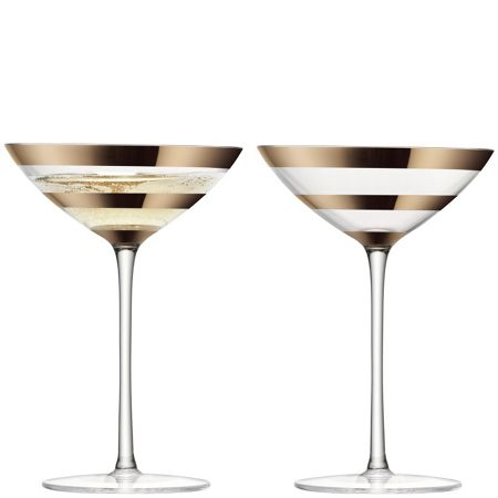 LSA Garbo champagne / cocktail blush gold set of 2