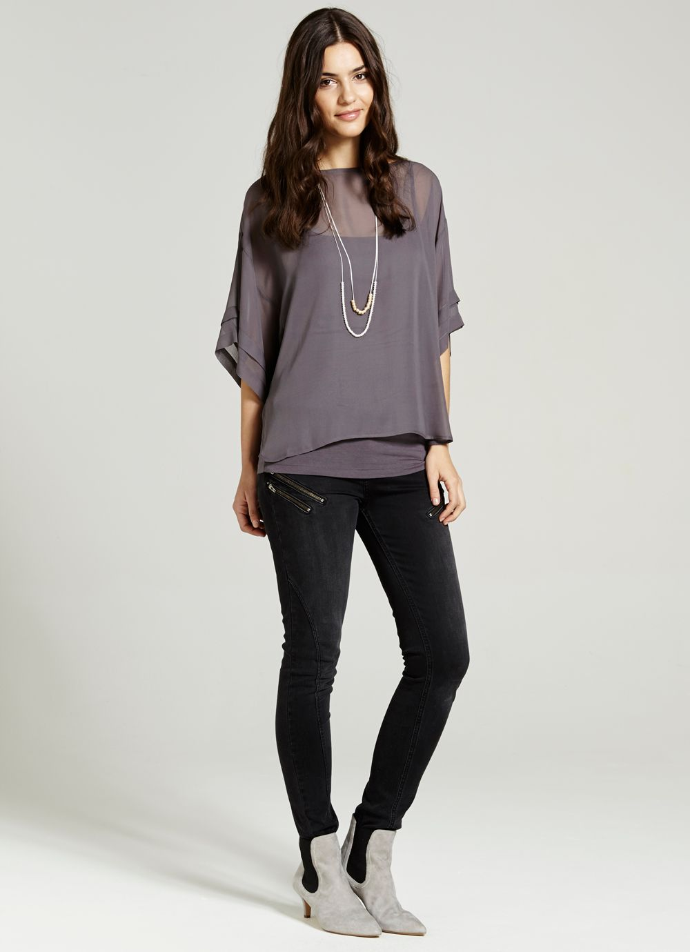 Slate pleat sleeve top