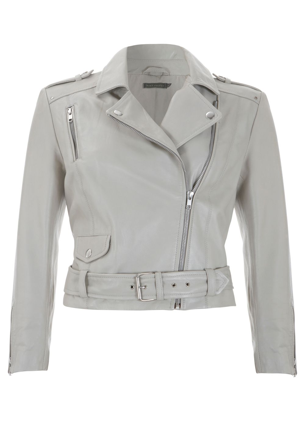 Stone cropped leather jacket