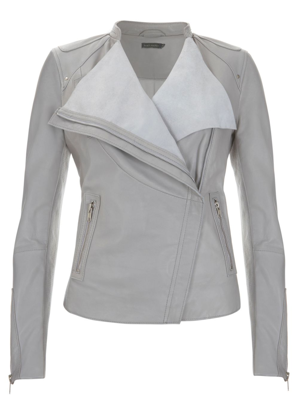 Pearl organic front leather jacket