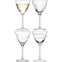 LSA Charleston wine glass assorted cuts set of 4