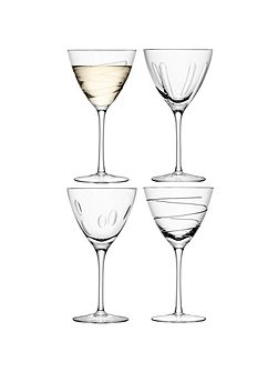 Charleston wine glass assorted cuts set of 4