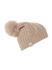 Nyla cable beanie with lurex and faux fur pompom