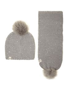 Lyla sequin knit hat and scarf set