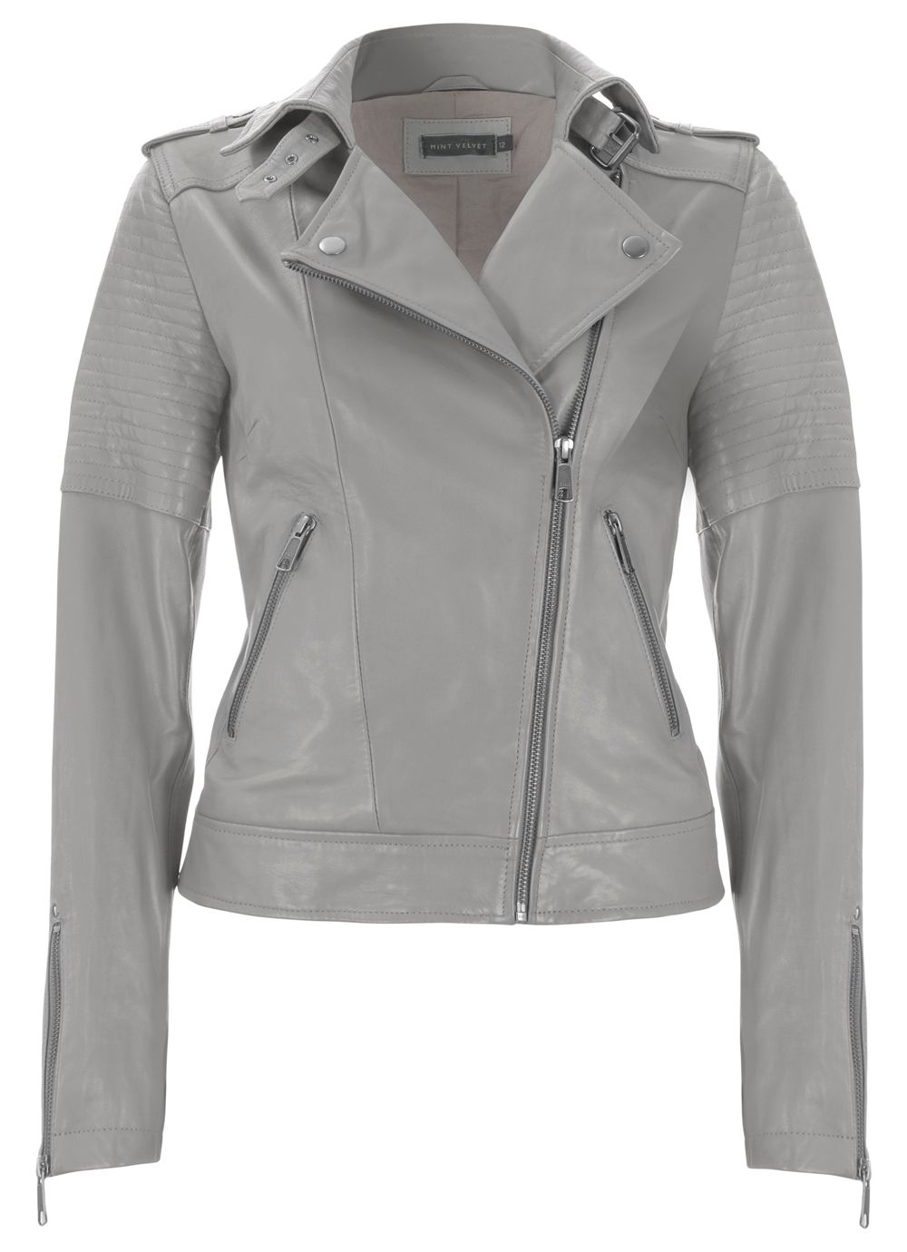 Pearl zip leather biker jacket
