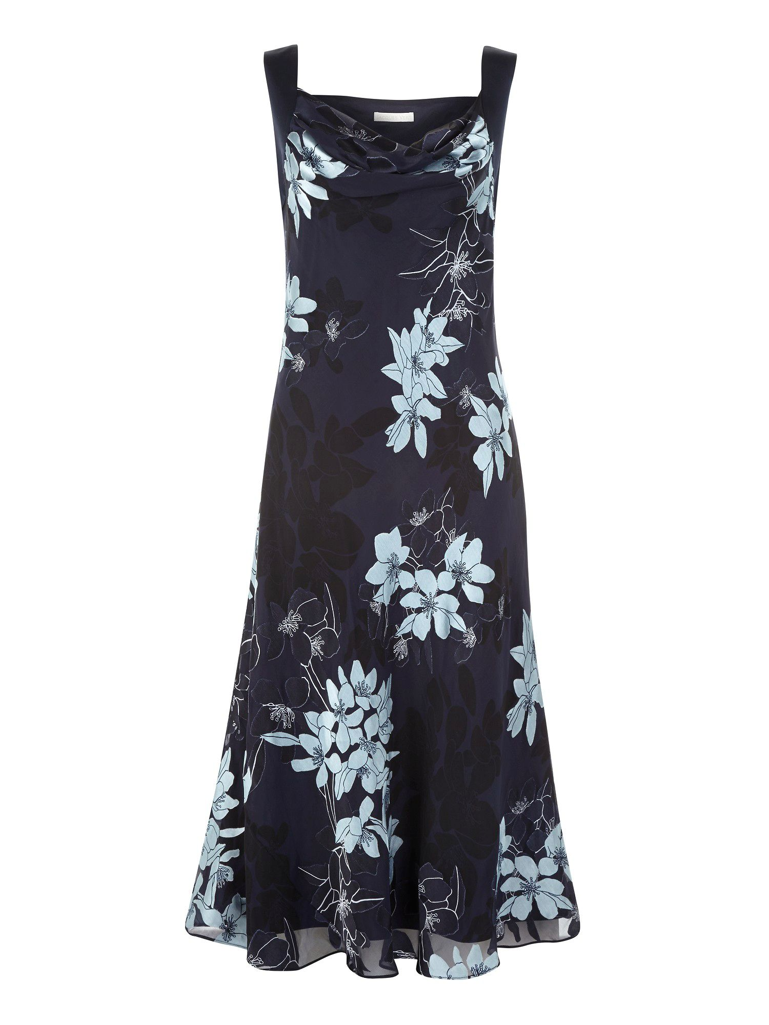 Navy burn out floral maxi dress