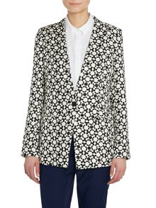 Long sleeved printed silk jacket