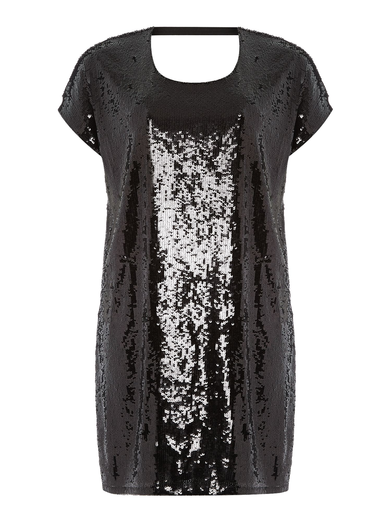 Short sleeve sequin shift