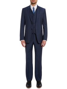 Slim fit three piece wool mohair solid suit