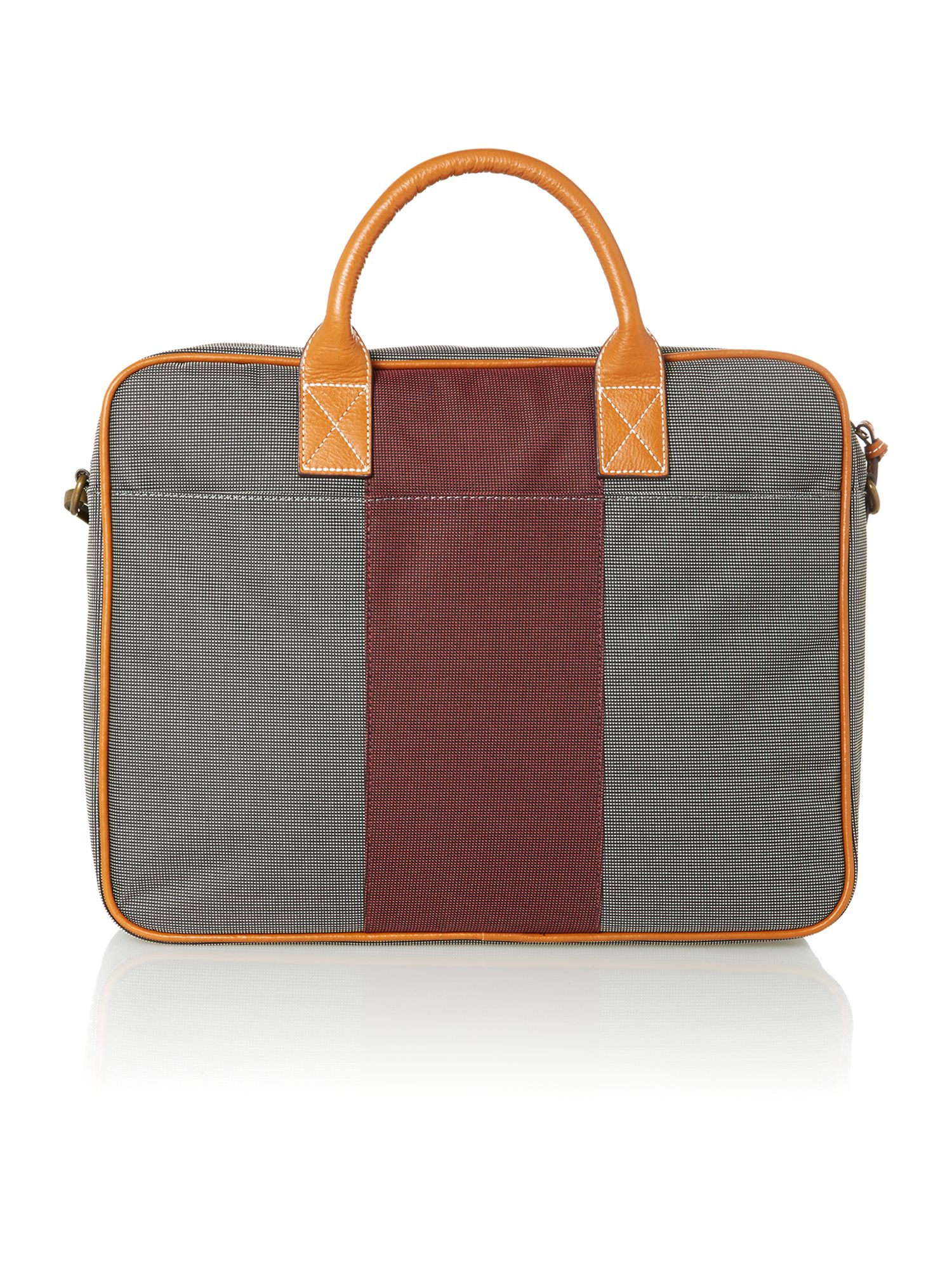 Stripe nylon and leather document bag