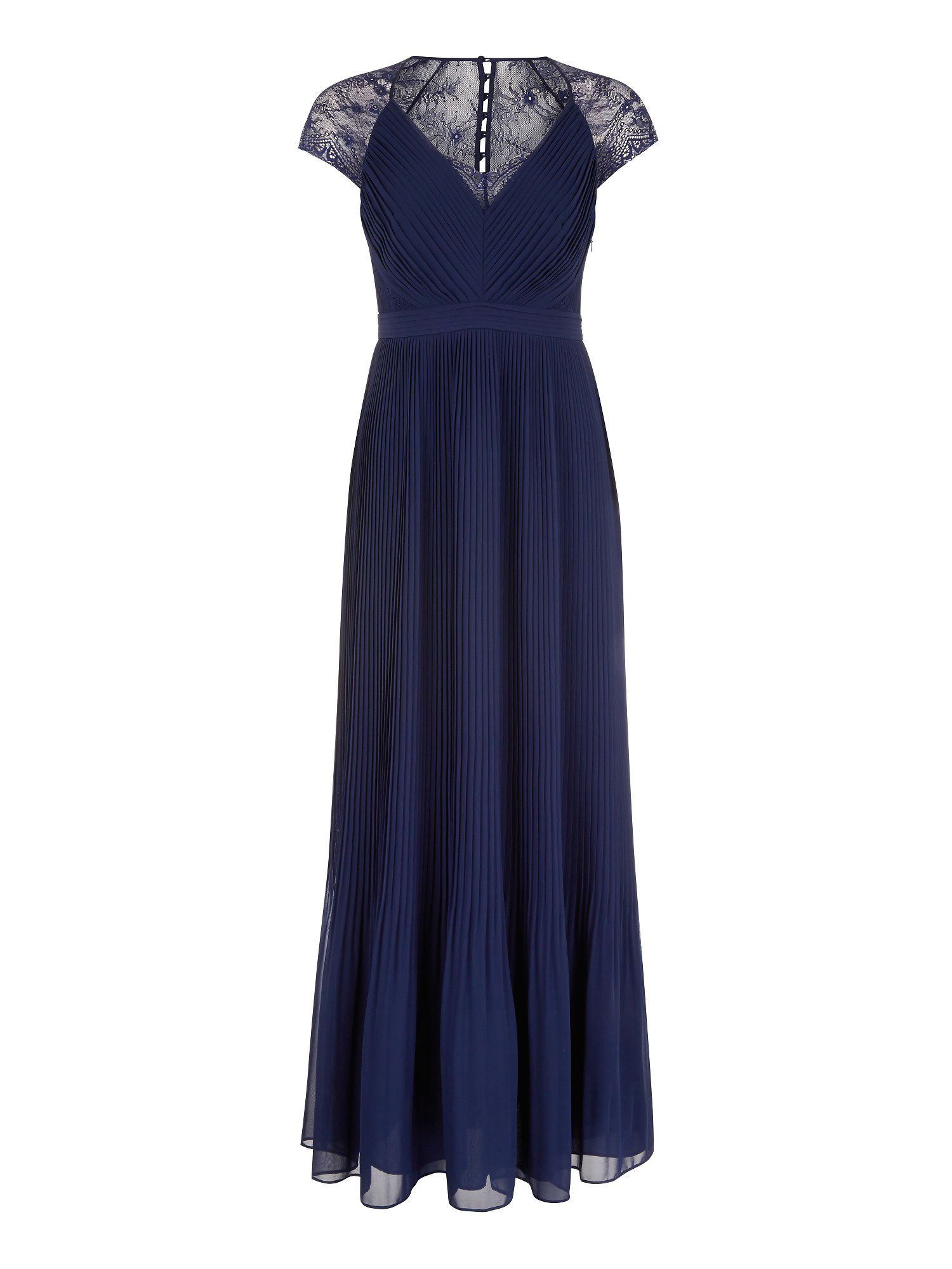 Navy middleton pleat maxi dr