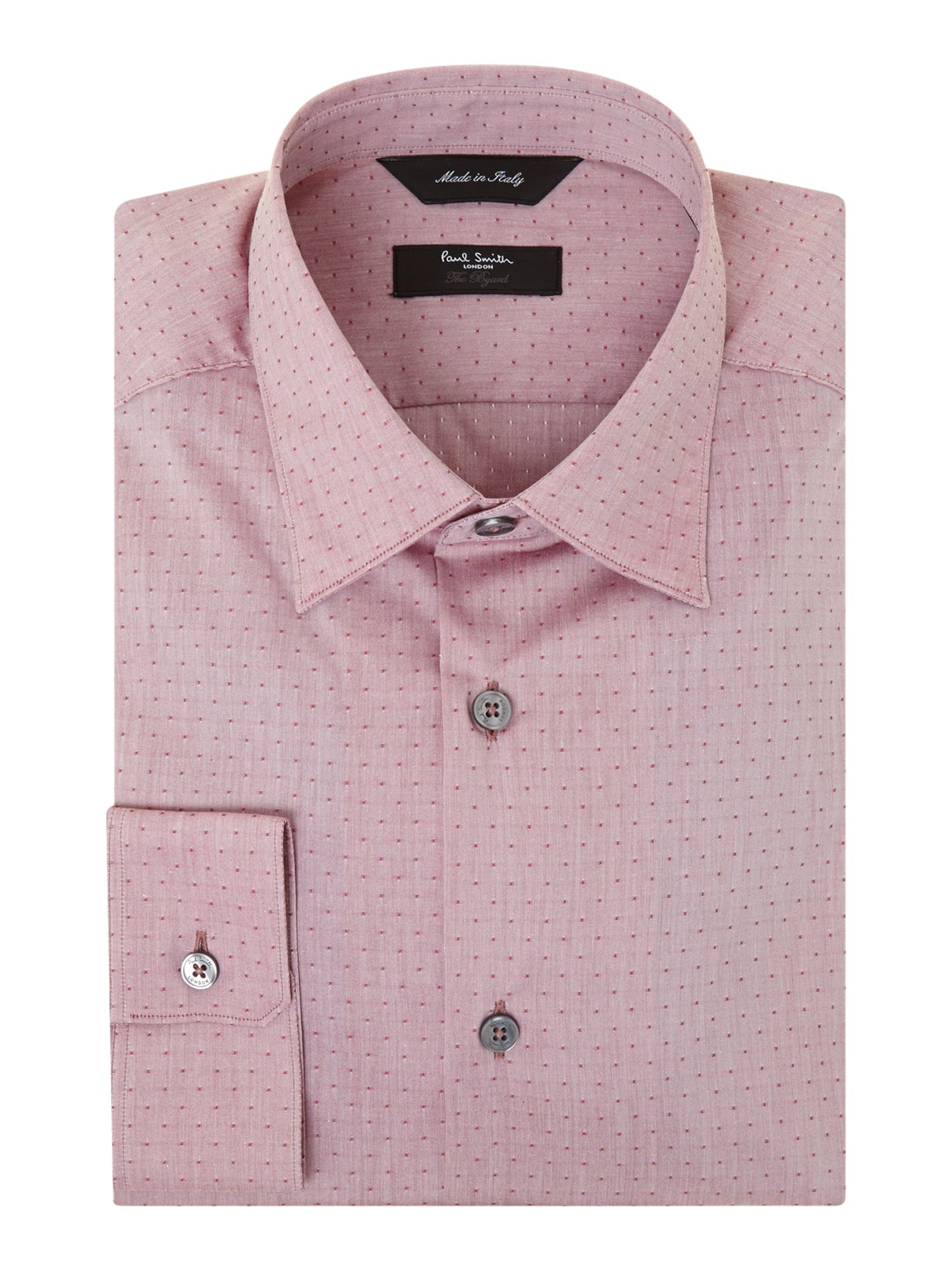 Slim fit solid shirt with contrast inside cuff