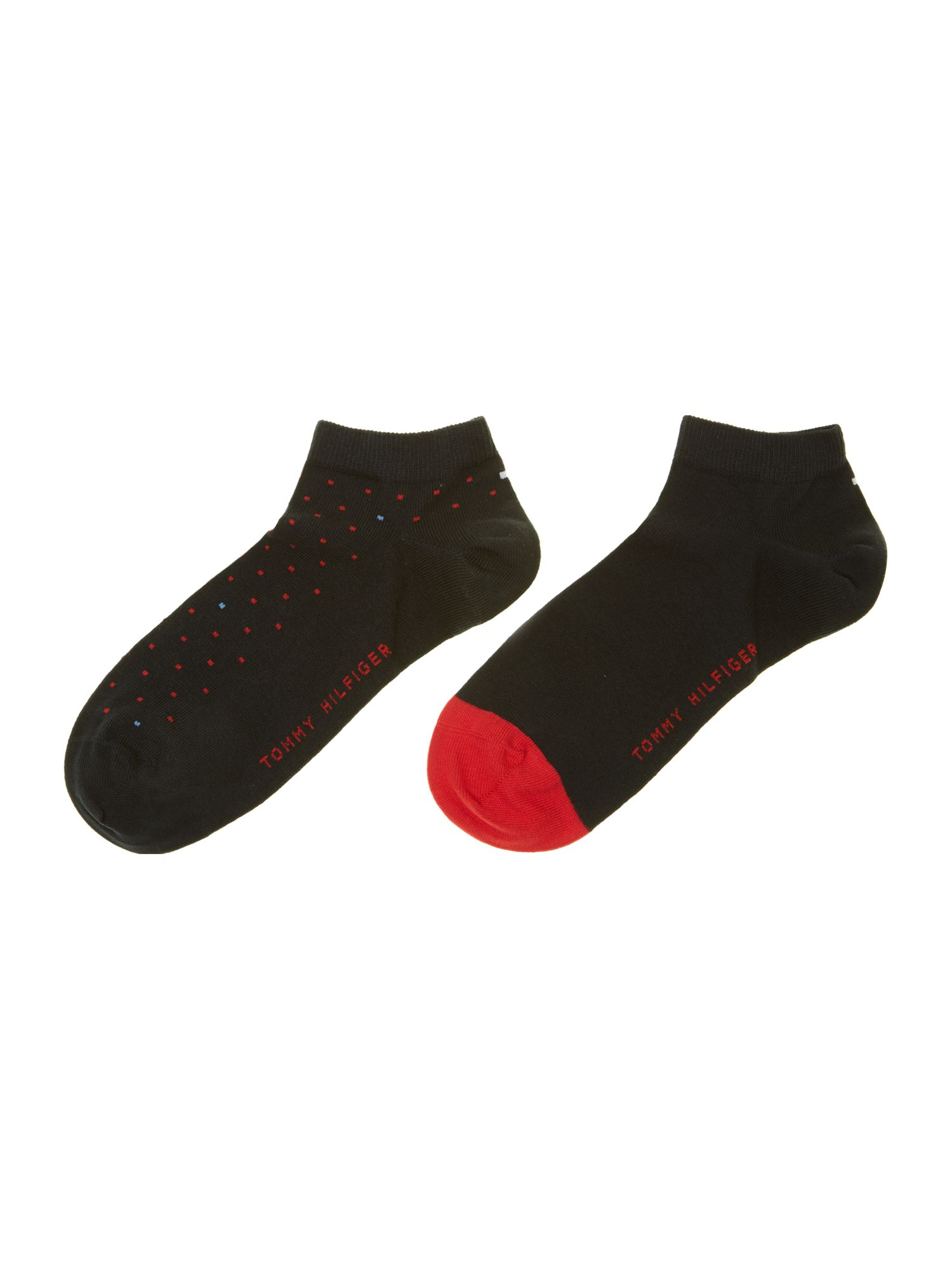 2 pack dot and solid trainer sock