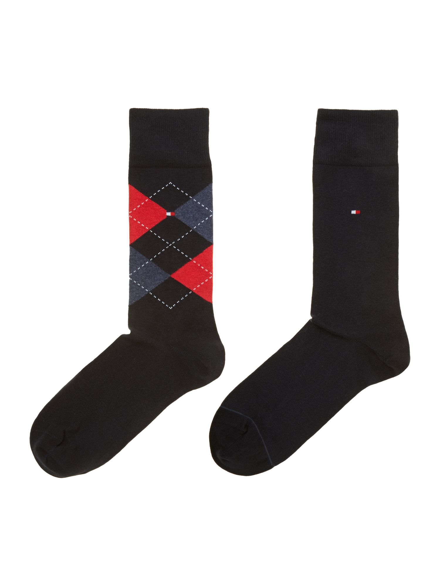 2 pack argyle and plain sock