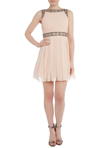 tfnc Pleated waist embellished fit and flare dress