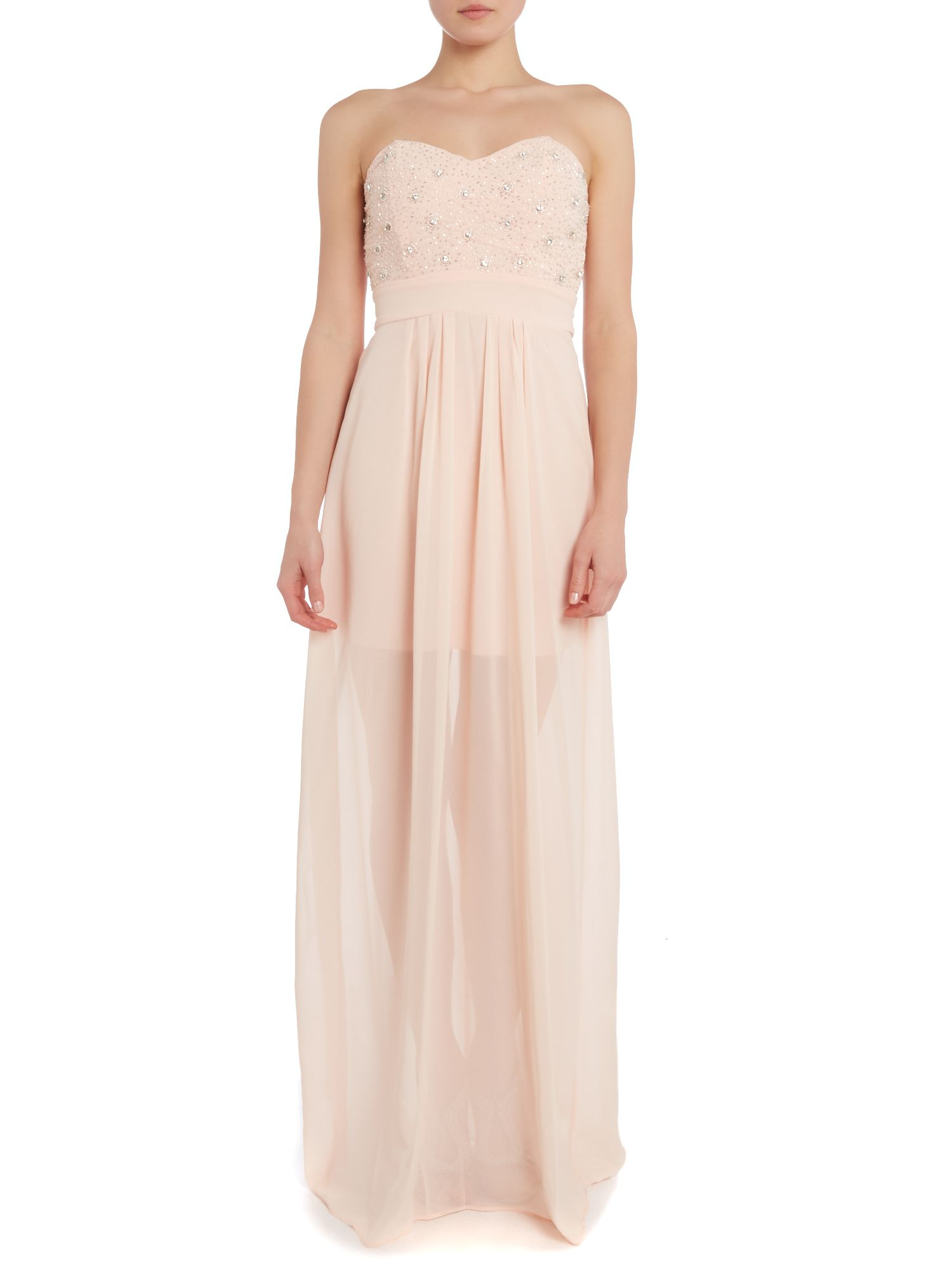 Strapless embellished top maxi dress