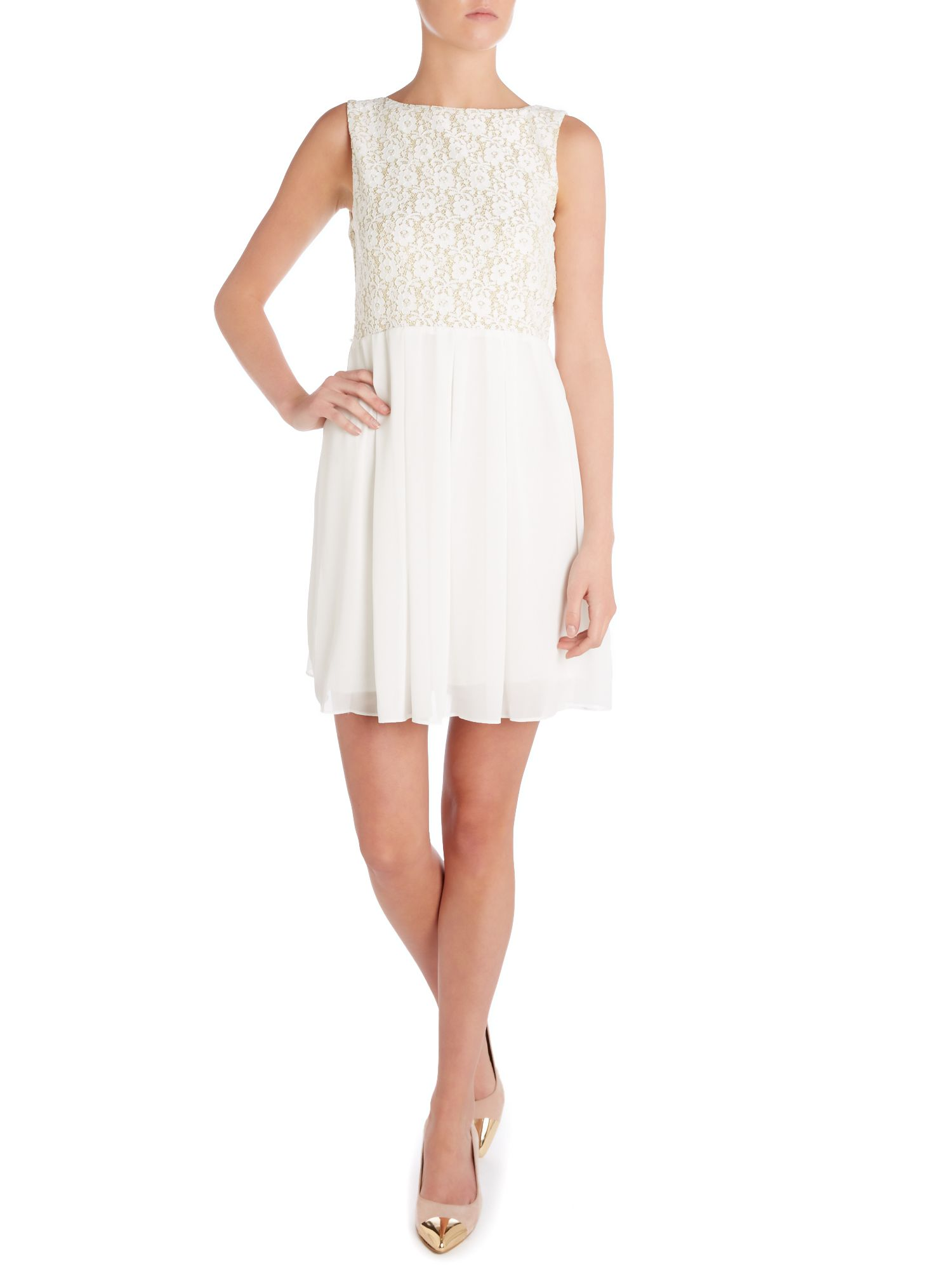 Embroidered lace top dress