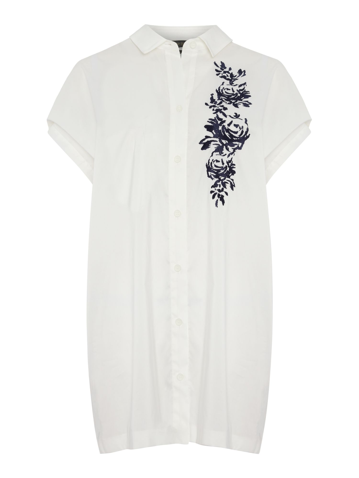 Brusio short sleeve floral applique shirt