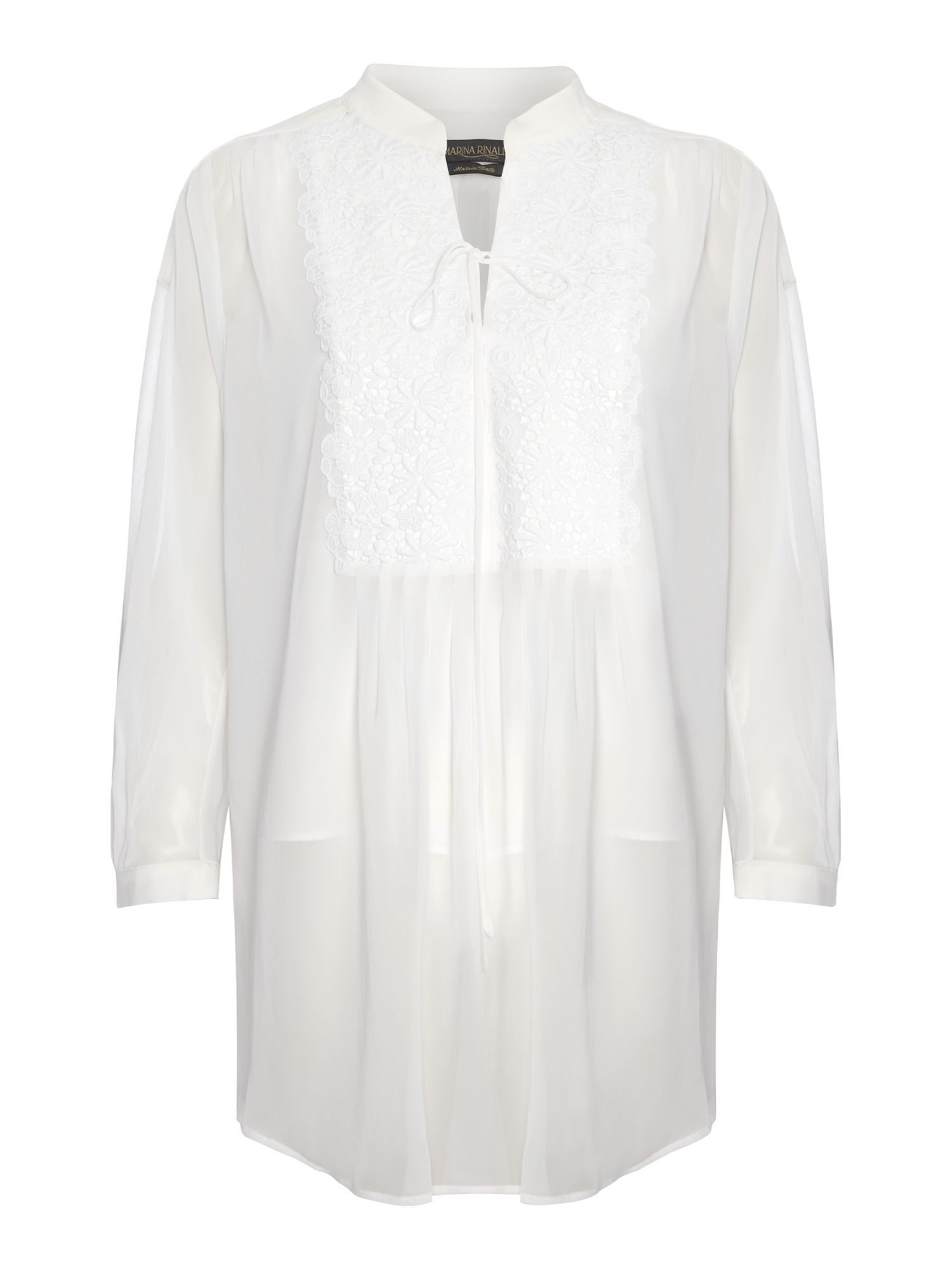 Filicudi long sleeve lace trim tunic