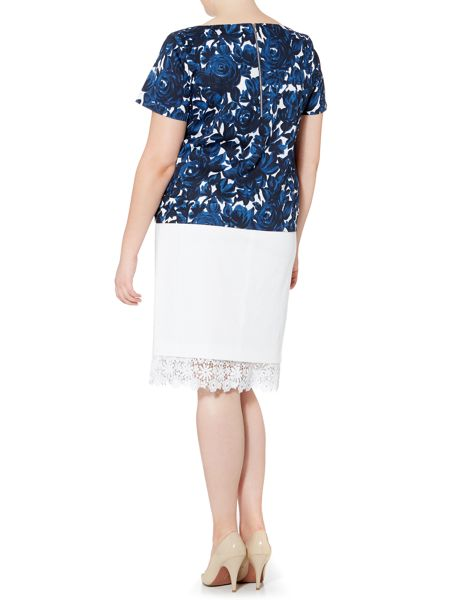 marina rinaldi plus size ciocca below the knee lace trim