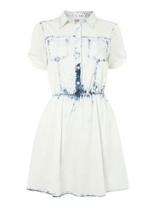 Acid wash short sleeved dress