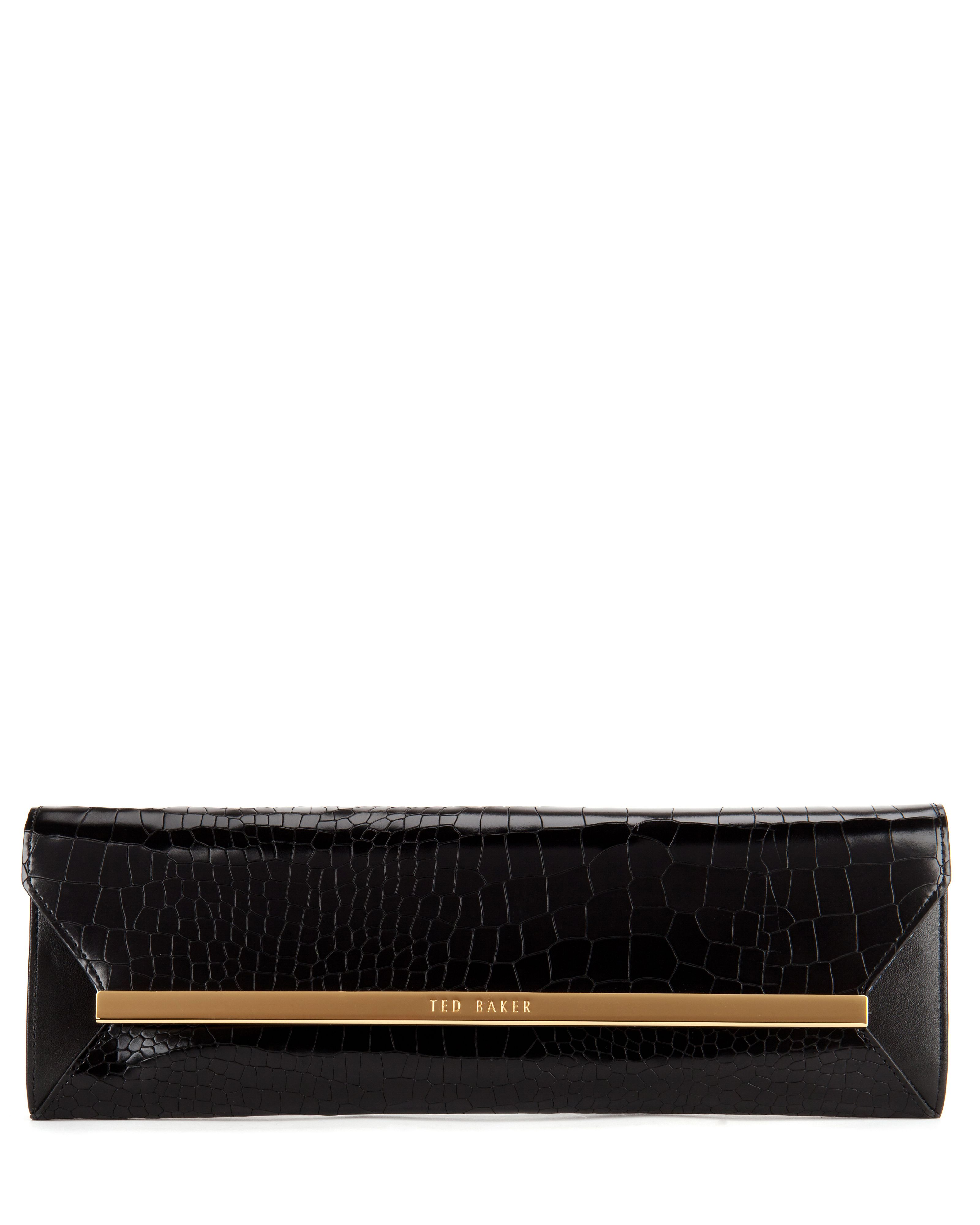 Allise leather metal bar clutch