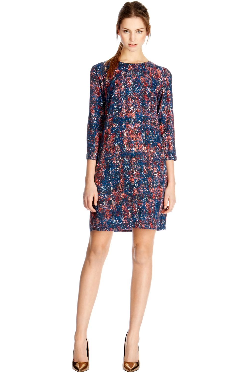 Scratchy texture print shift dress