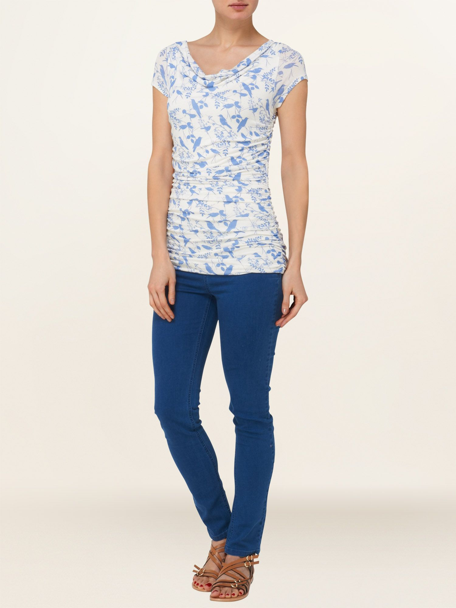 Beau bird print tallie top